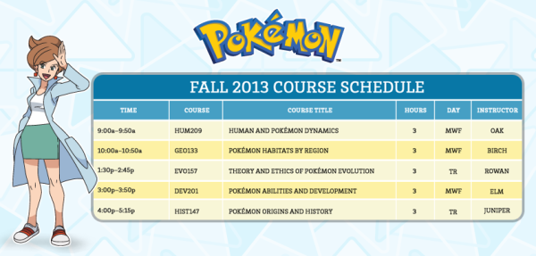 pokemon university course