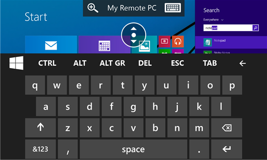 windows phone remote desktop keyboard