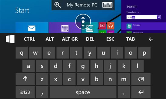 windows phone remote desktop keyboard