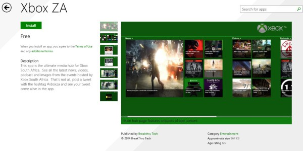Xbox ZA app for Windows 8
