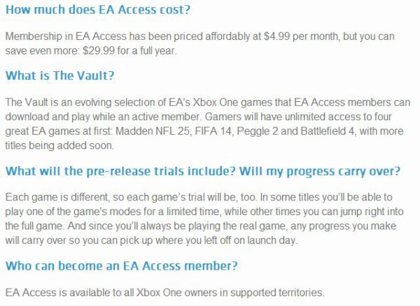 EA Access FAQ limitations