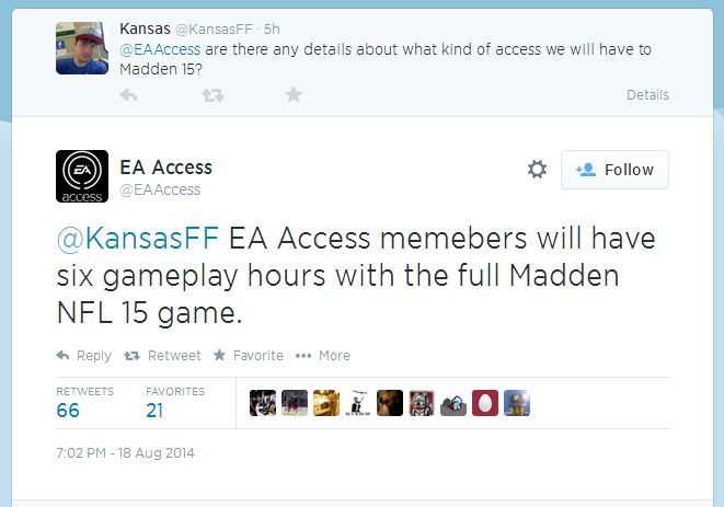 EA Access twitter question