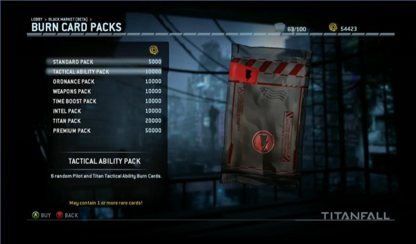 titanfall burn card packs store