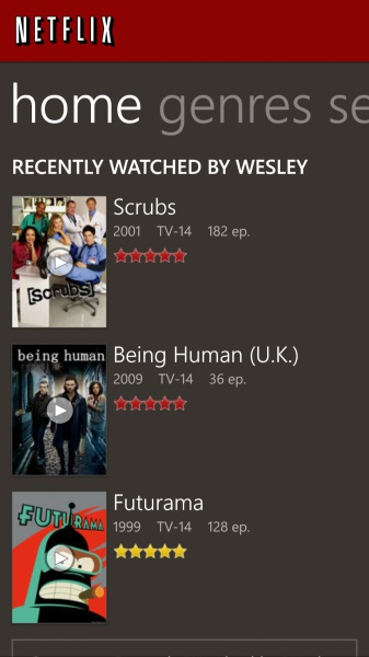 Netflix on Windows Phone (2)