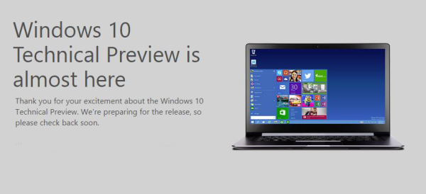 Windows 10 technical preview announcement