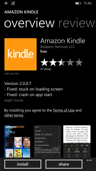 Windows Phone app store