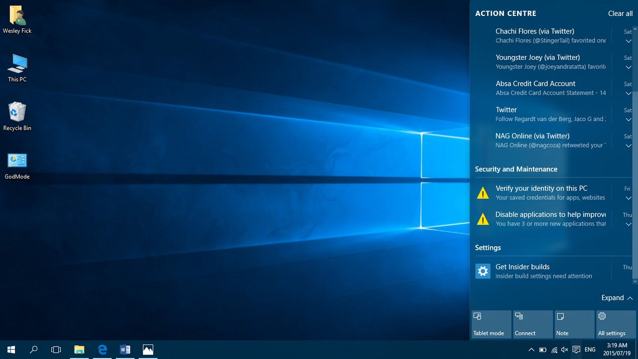 system center in windows 10