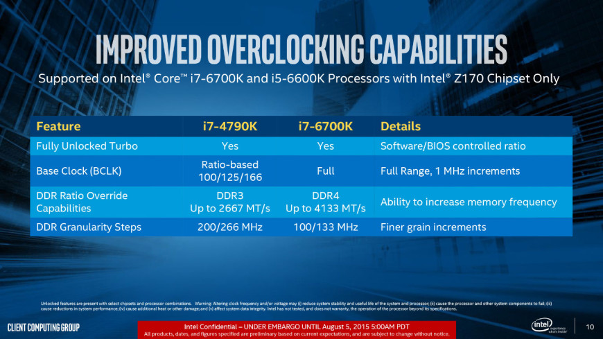 intel skylake overclocking