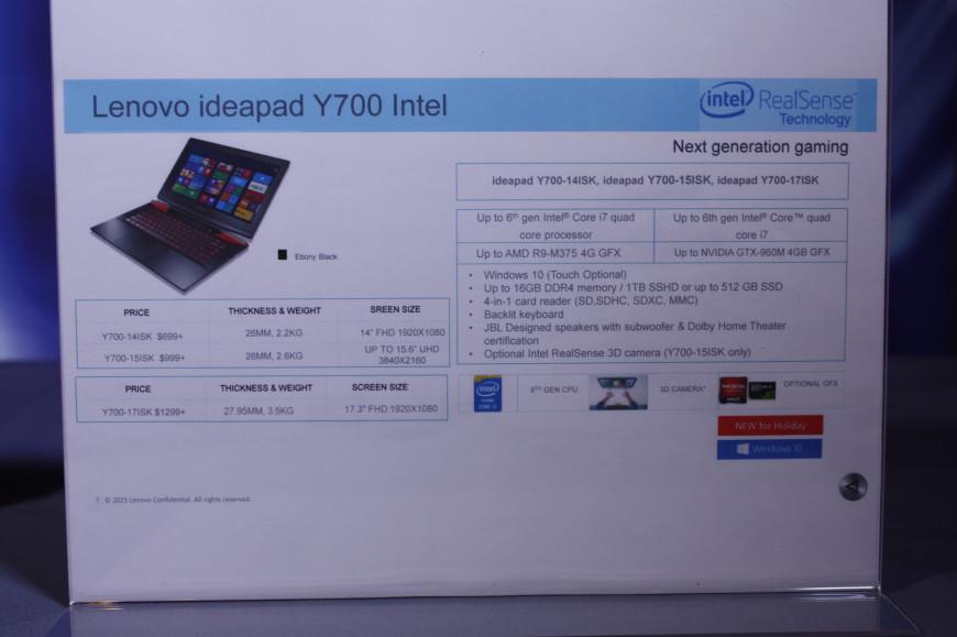 Lenovo Y700 AMD Carrizo specs Intel IFA2015