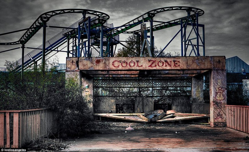 abandoned roller coaster theme park