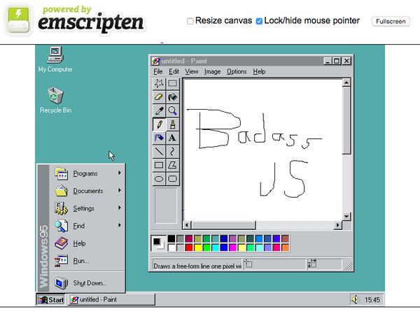 windows 95 in a browser