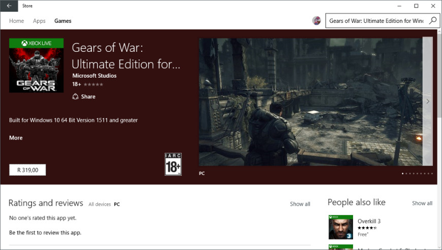 Gears of War windows store