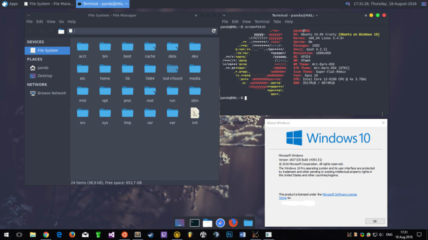 Windows 10 1607 Subsystem for Linux