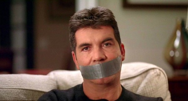 simon cowell duct taped mouth