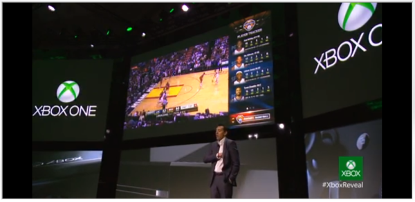 Xbox One showinf off an NBA match with Fantasy Basketball sports tally on the right side of the screen.