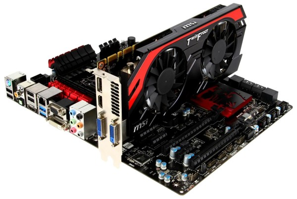 Some hardware vendors even go to lengths to match up their designs, as in the case here with an Intel Z77 Gaming series motherboard and Nvidia Geforce GTX760, both from MSI.