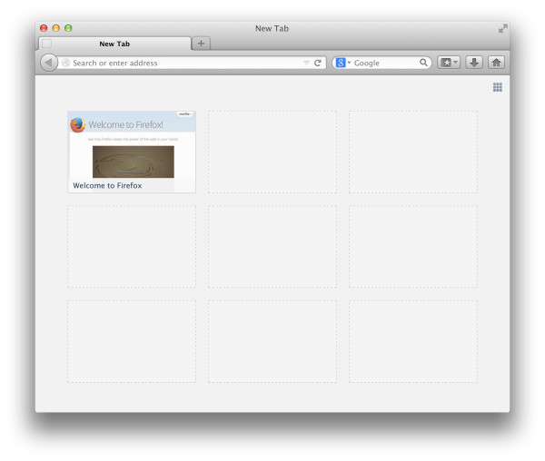 By default, on a new installation, this is what the New Tab page looks like.