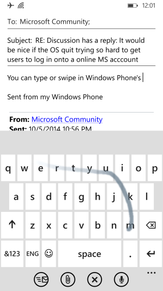 Windows Phone keyboard