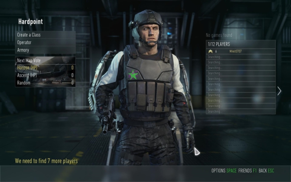 This is a Hardpoint lobby; notice how my Operator is as unimpressed as I am.