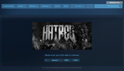 Games like Hatred have an age gate but remain otherwise accessible in South Africa via Steam. Valve does not currently rate games on Steam, instead largely relying on developers and publishers to rate their games.