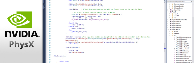 A very small screenshot of source access to PhysX code.