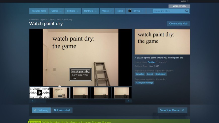 Watch paint dry - THE GAEM!