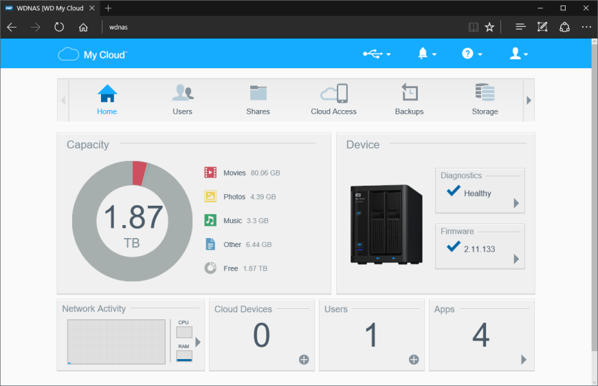 WD myCloud EX2100 web interface