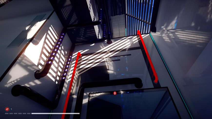 The most direct path to your next waypoint is highlighted by a red breadcrumb trail, but there are many alternate paths to be found in Glass, especially as you unlock new gear.