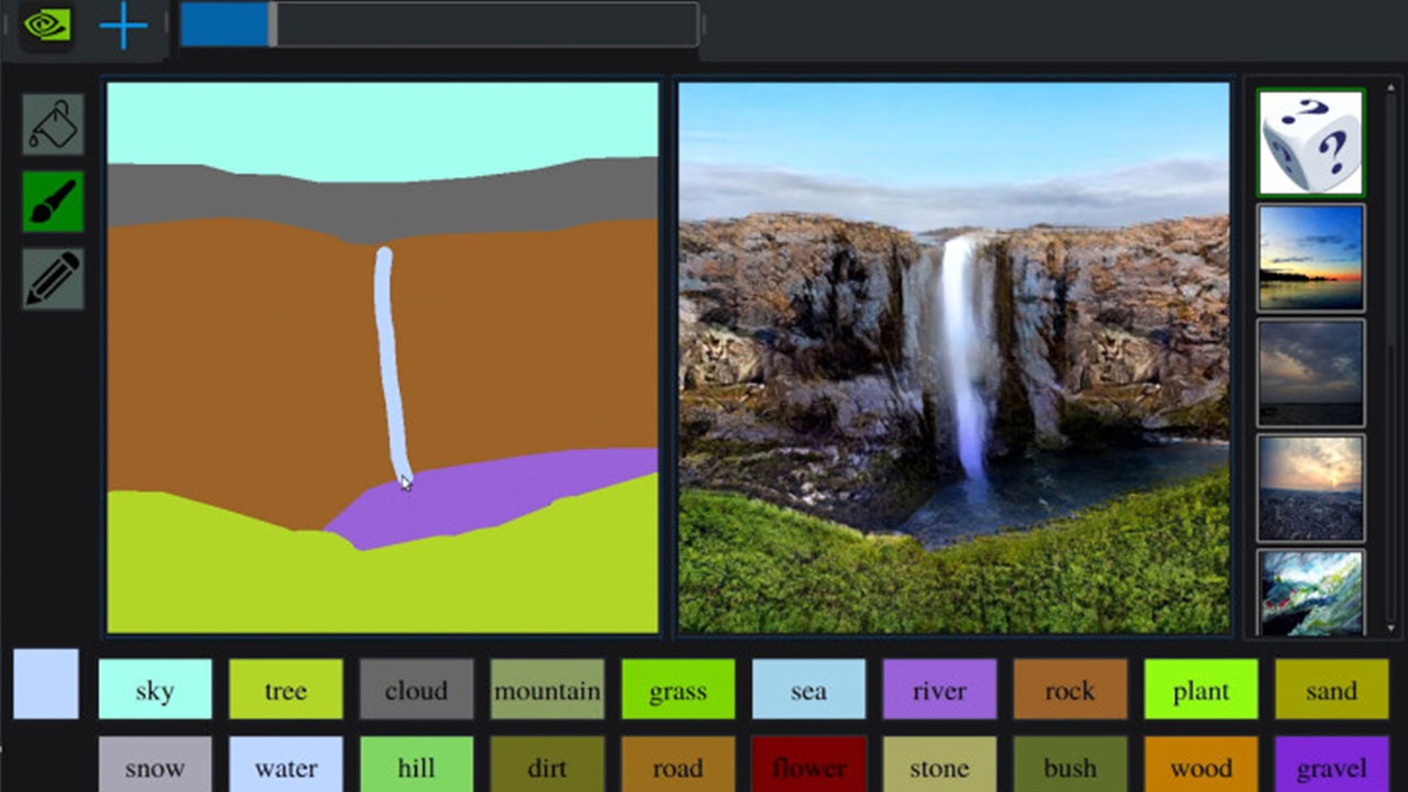 NVIDIA GauGAN neural network creates photorealistic landscapes from sketches