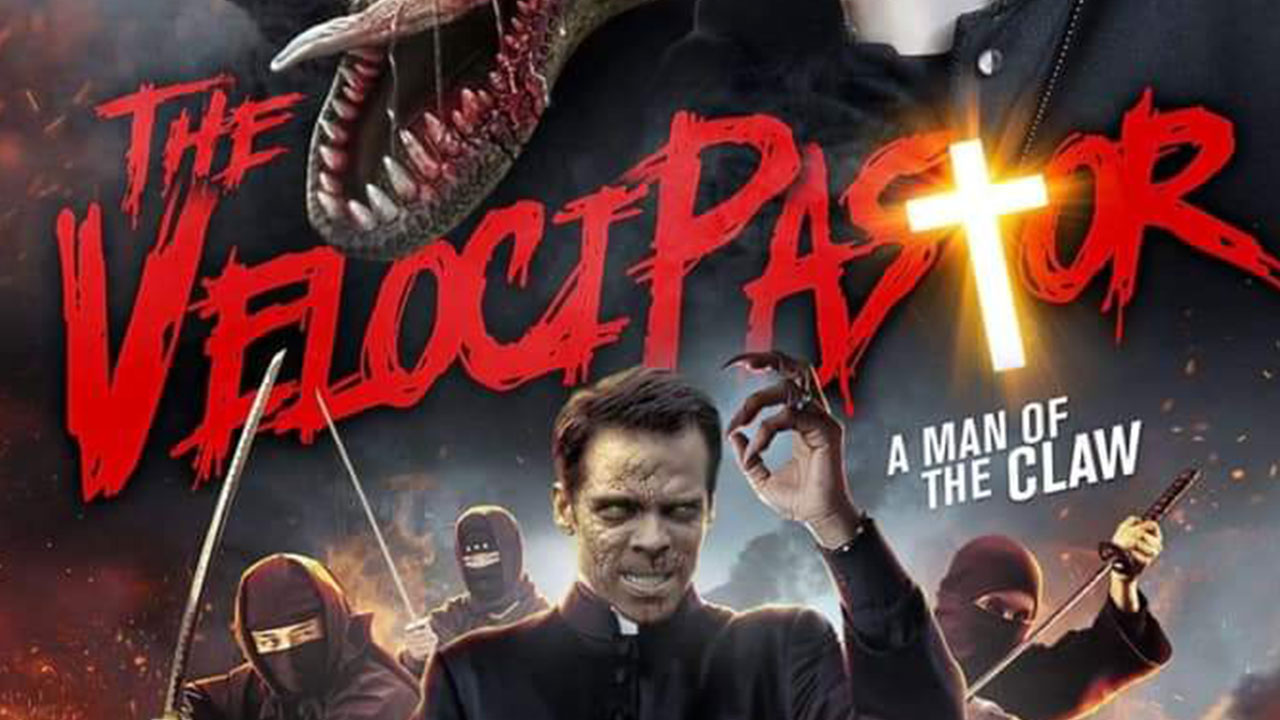 VelociPastor is a film about a priest who can turn into a dinosaur to fight ninjas