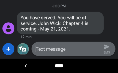 John Wick 4 announced via text message.