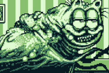 Garfield re-imagined as a horrifying creature in pixel animation by Lumpy