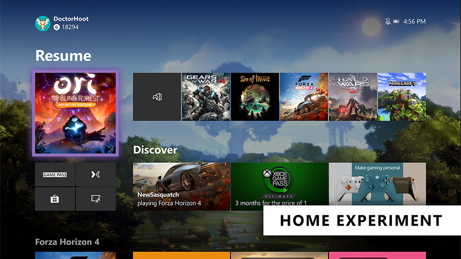 New Xbox One Home Screen