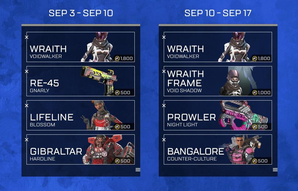 Apex Legends Voidwalker Shop Schedule